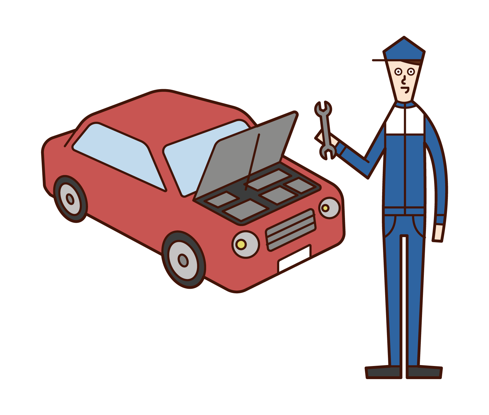 Illustration of a man car mechanic
