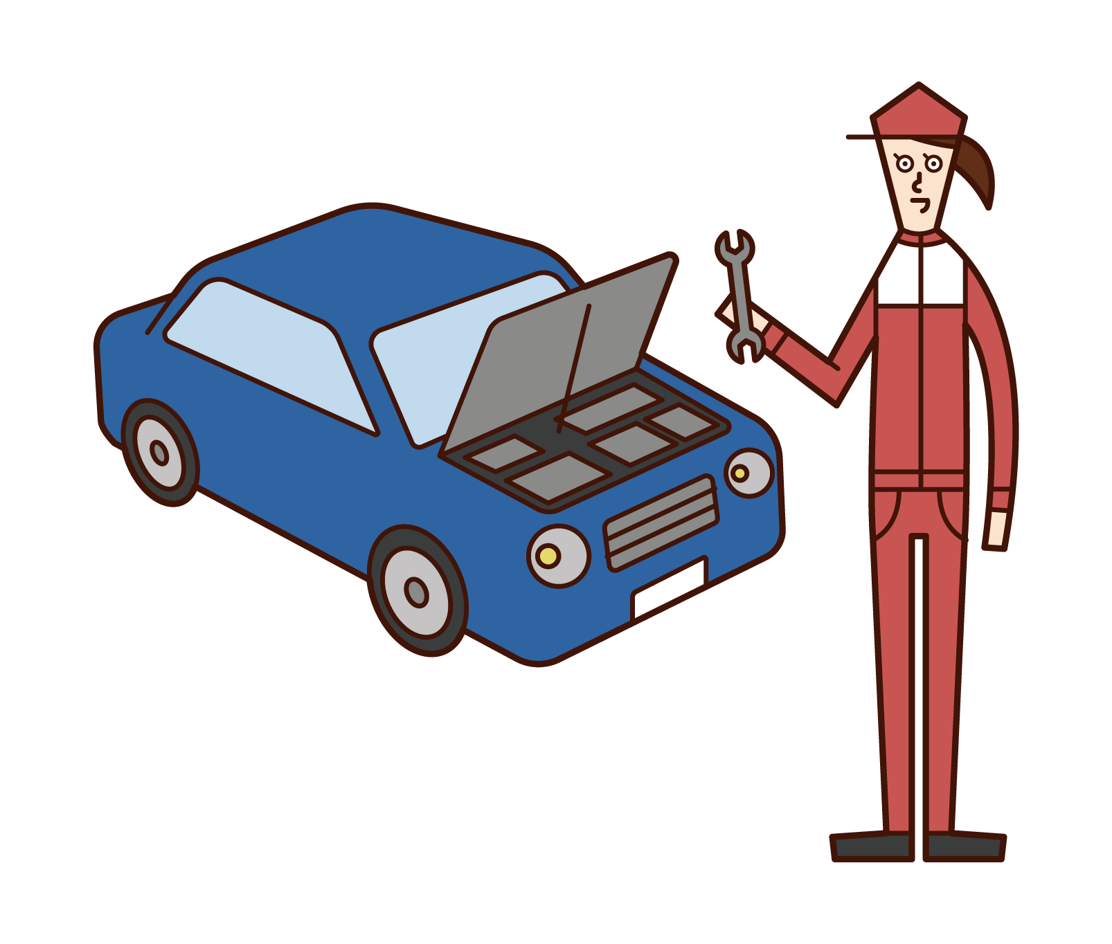Illustration of a car mechanic (woman)