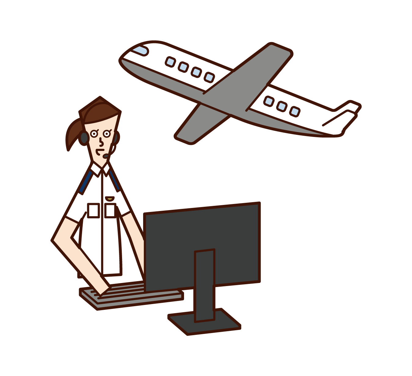 Illustration of air traffic controller (woman)