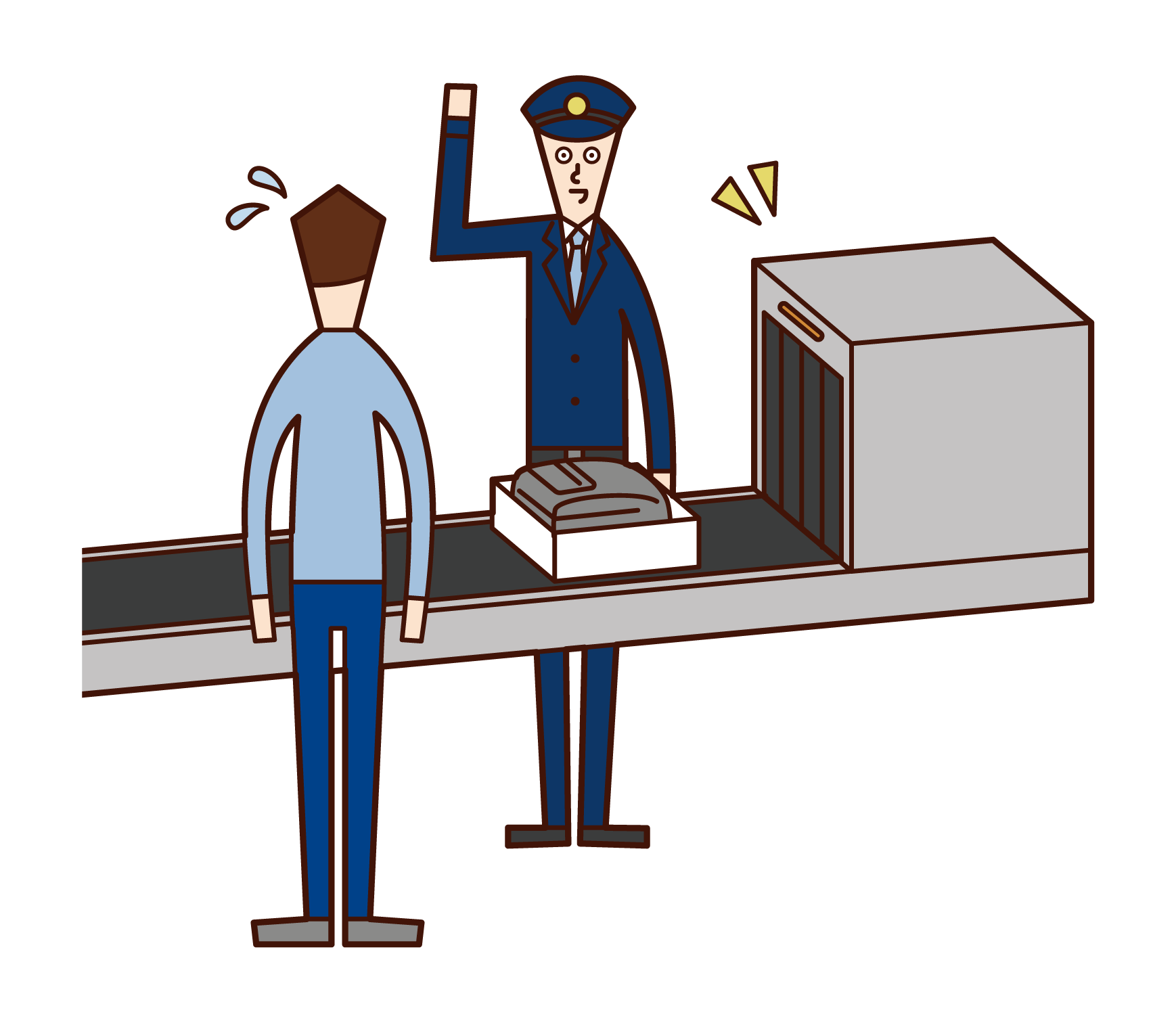 Illustration of a duty official (man) at the airport