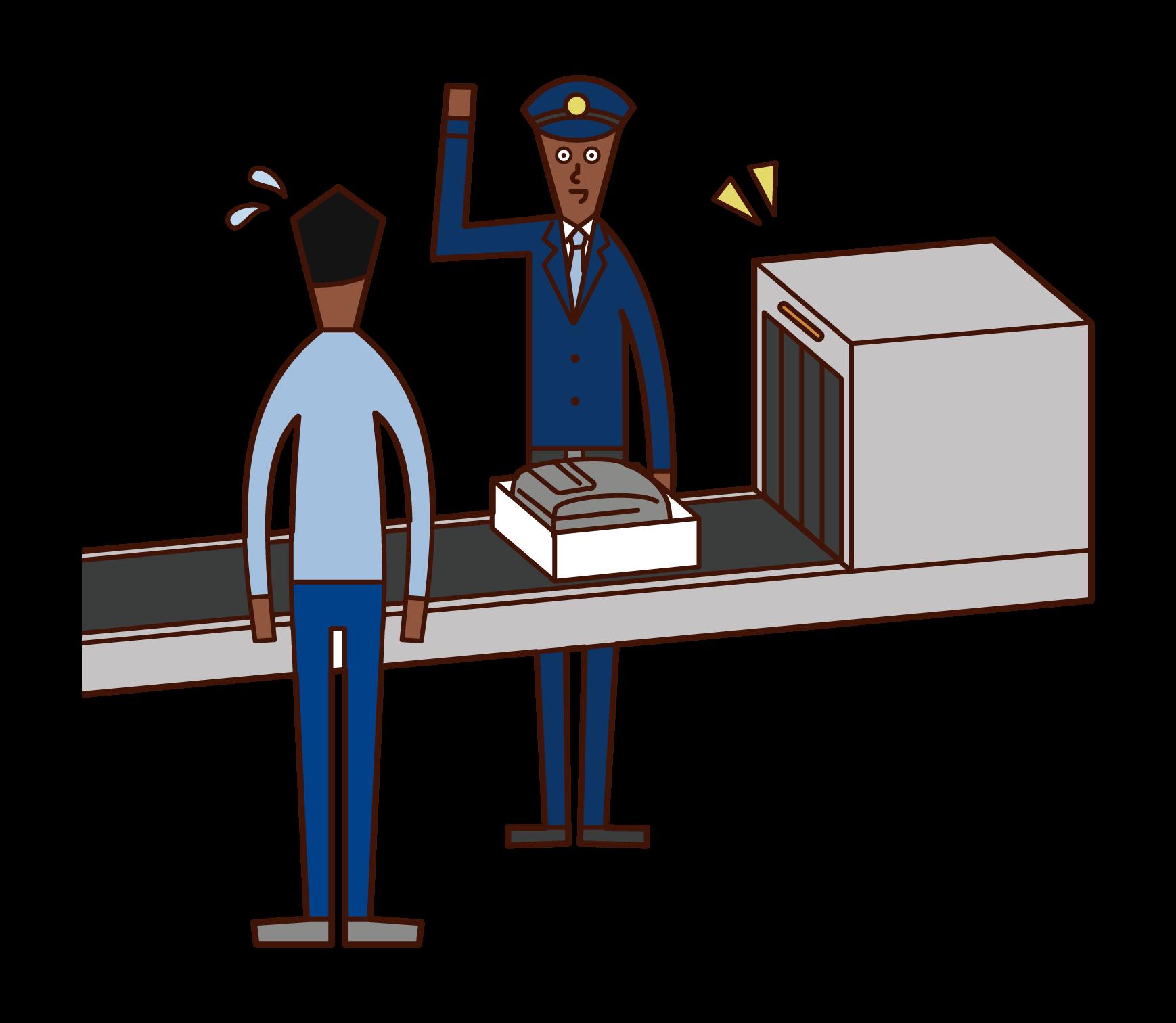 空港の関税職員(男性)のイラスト