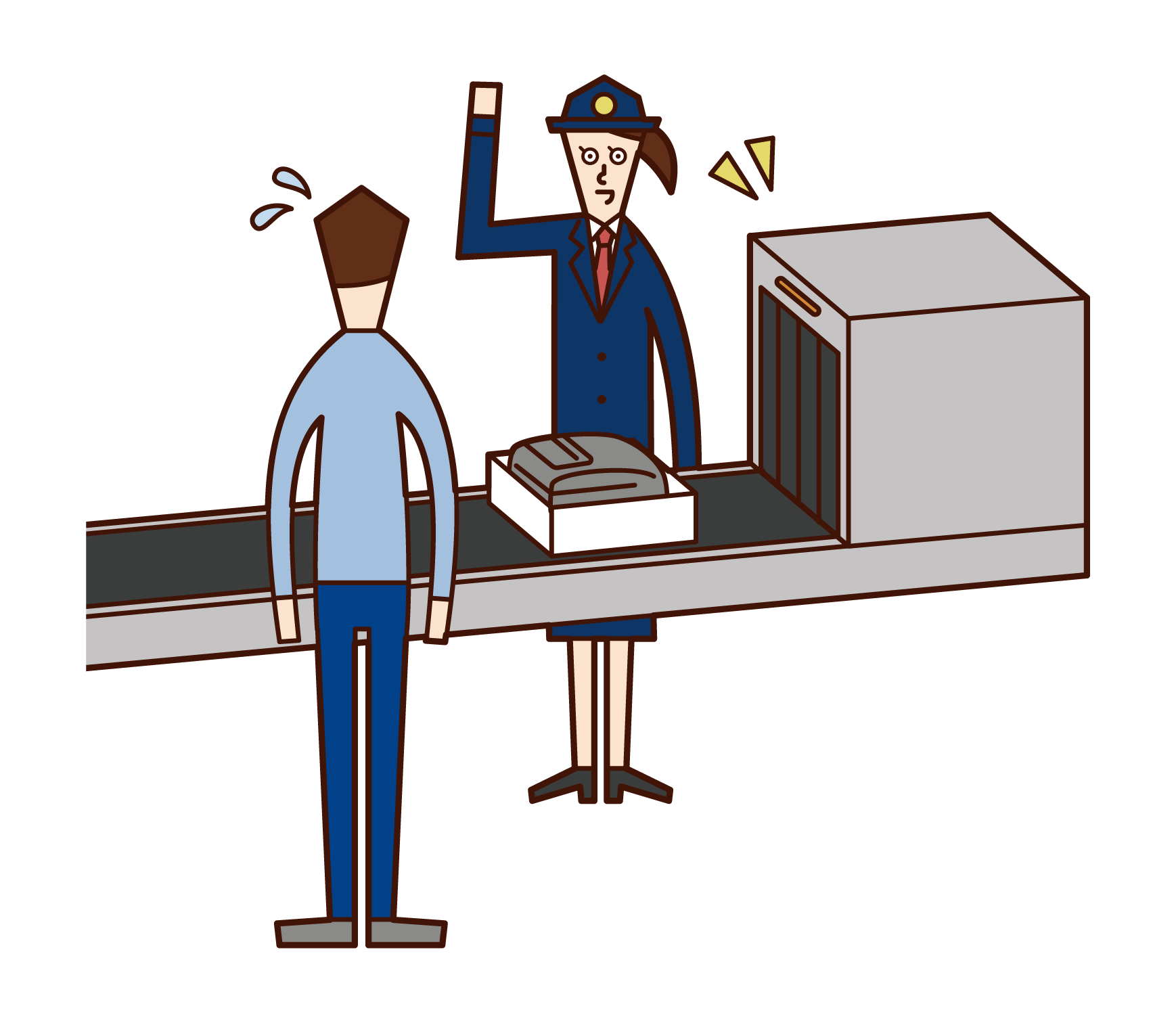 Illustration of a customs officer (woman) at the airport