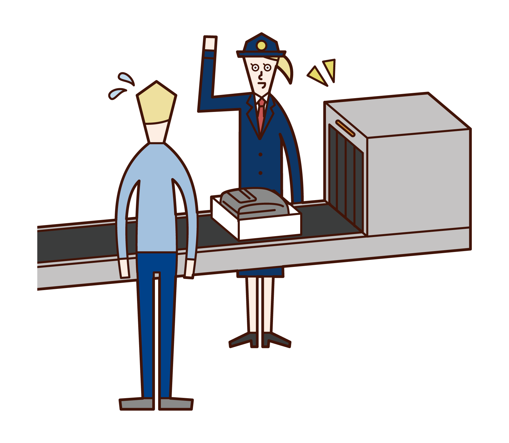 空港の関税職員(女性)のイラスト