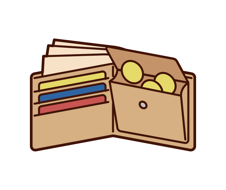 Illustration of the contents of the wallet with small change