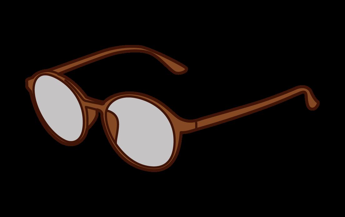 丸いメガネのイラスト