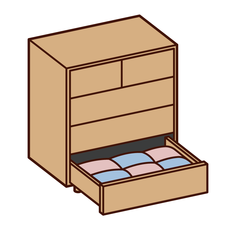 Illustration of chest chest with open drawer