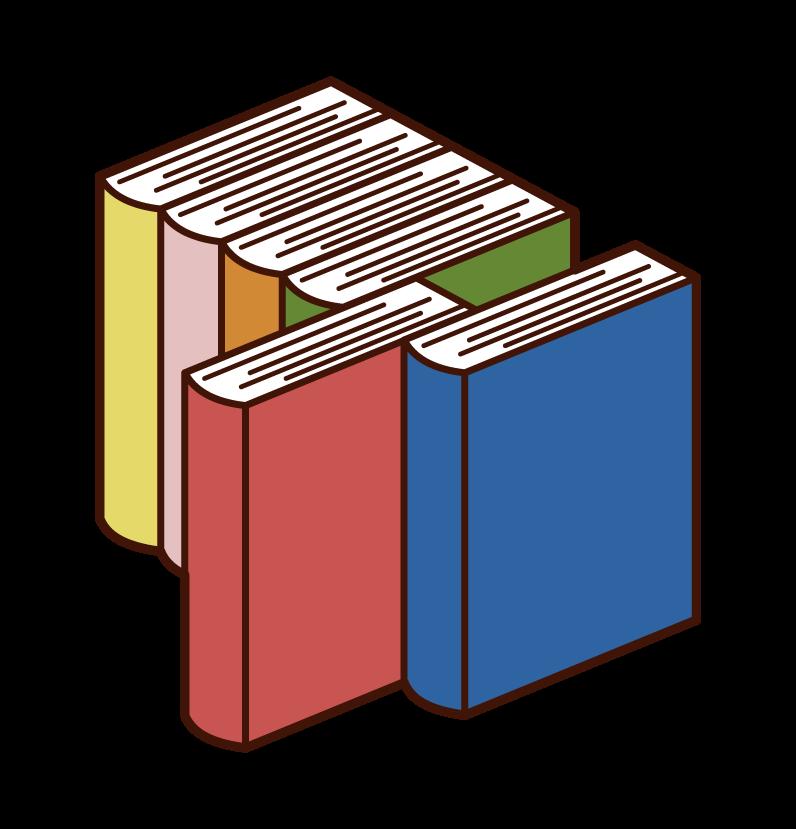 引き出された本のイラスト