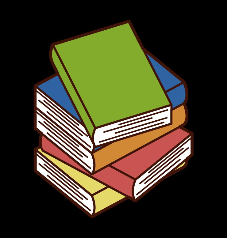 아무렇게나 쌓인 책의 일러스트