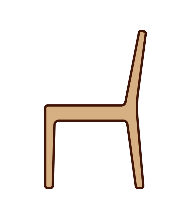 Illustration of a wooden chair from the side