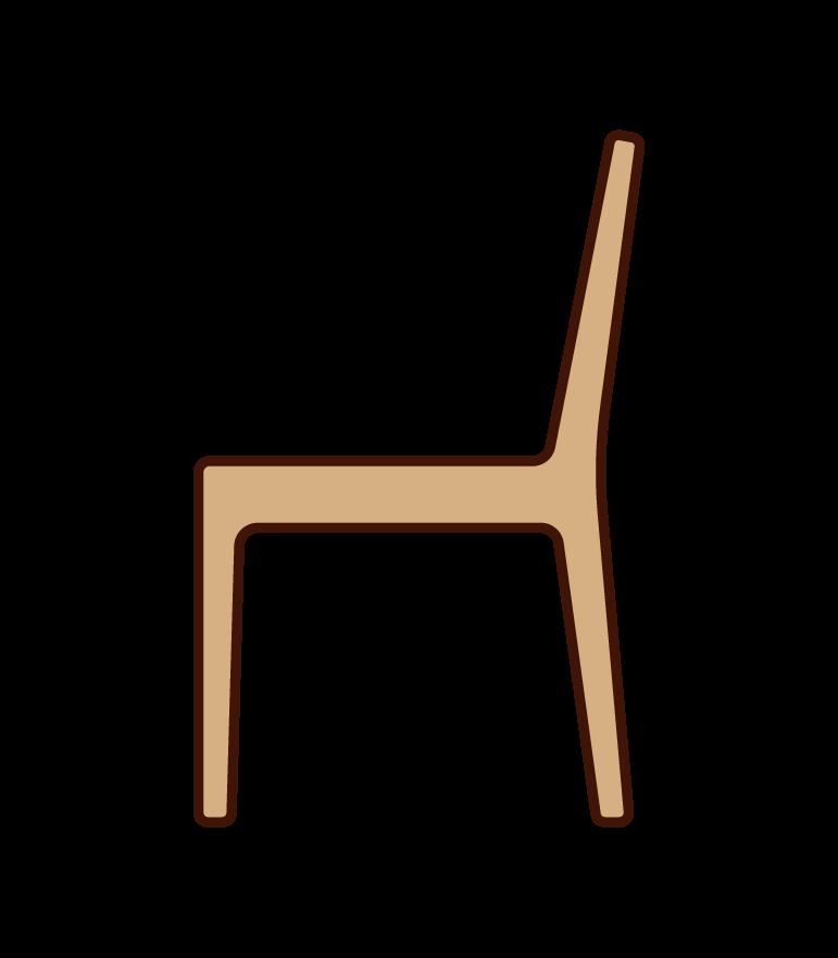 横から見た木製の椅子のイラスト