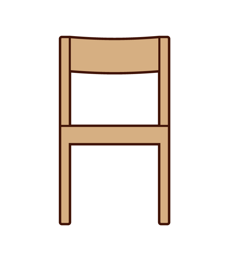 Illustration of a wooden chair from the front