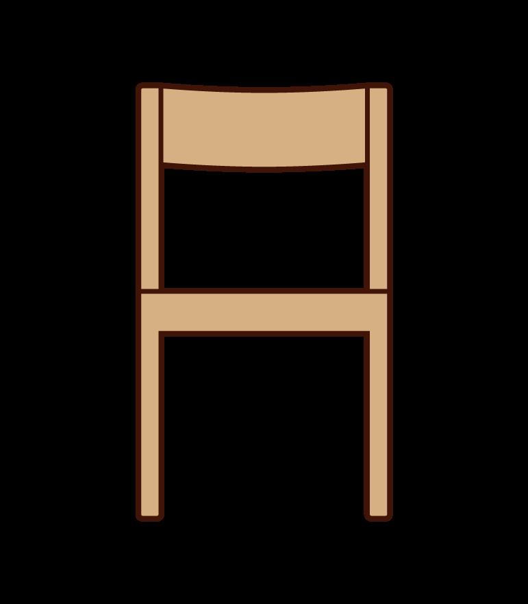 正面から見た木製の椅子のイラスト