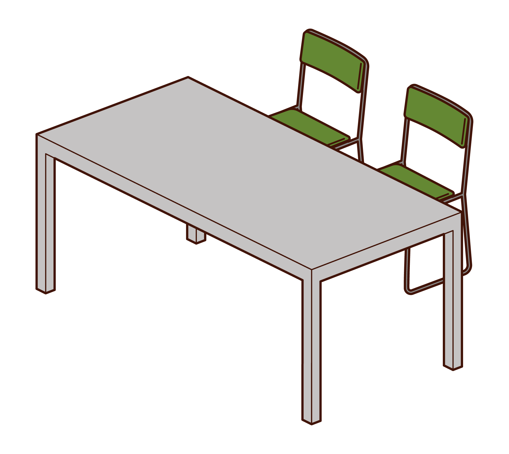 Office desk and chair illustrations
