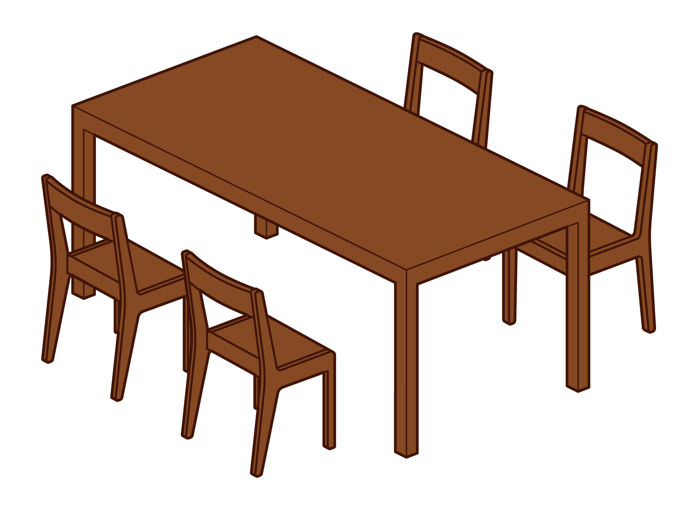 Dining table and chair illustrations