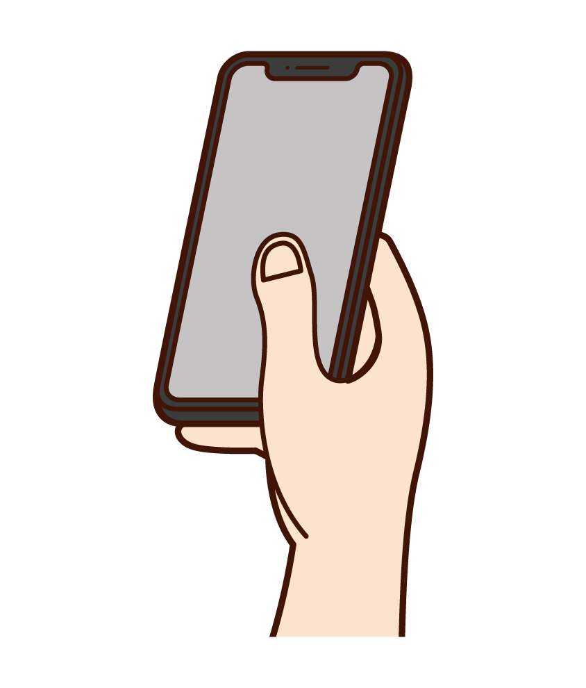 Hand illustration to operate your smartphone