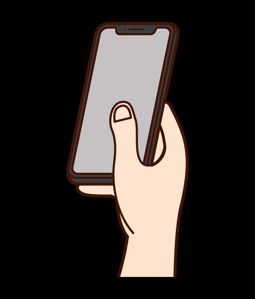 スマートフォンを操作する手のイラスト