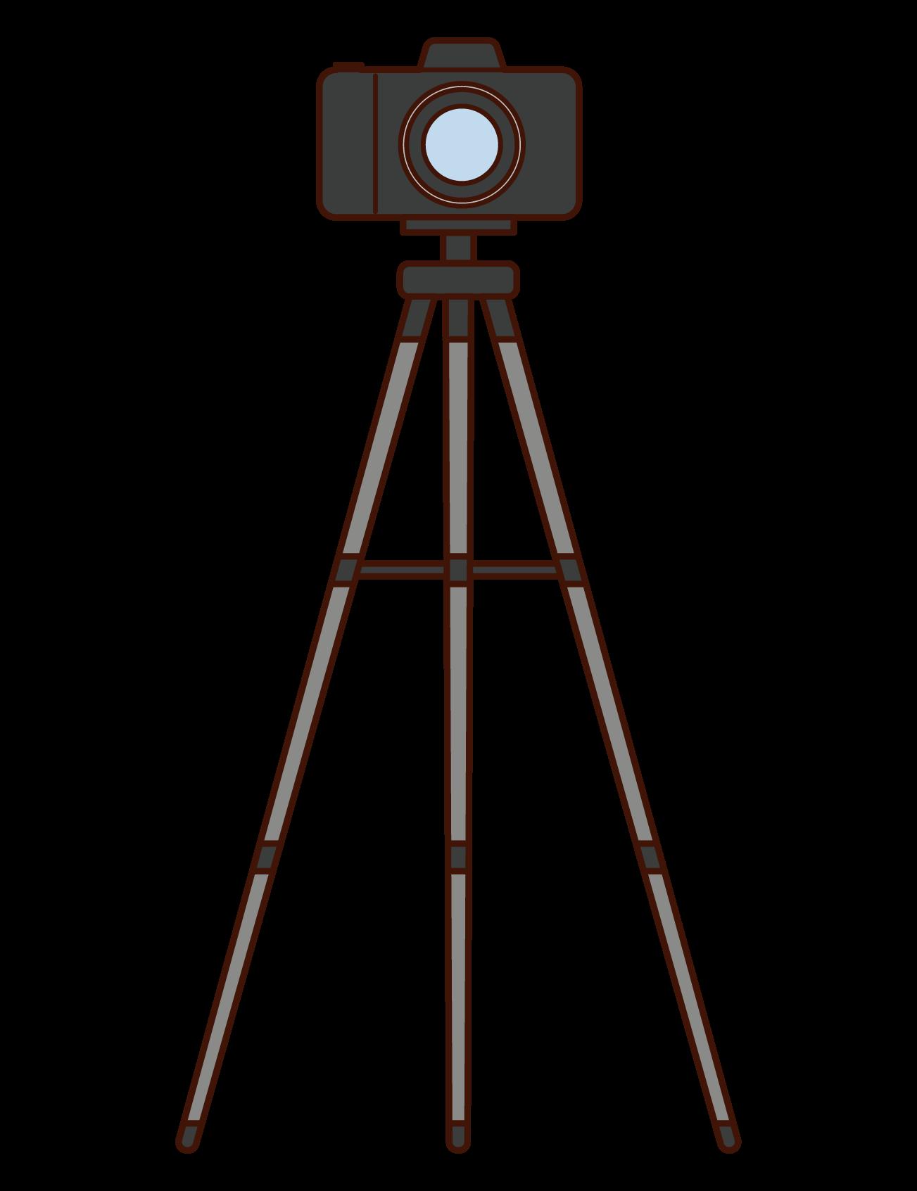삼각대 및 카메라 일러스트레이션