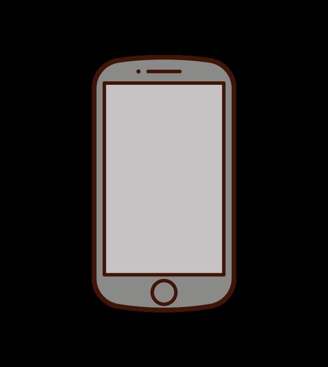 丸みを帯びたスマートフォンのイラスト
