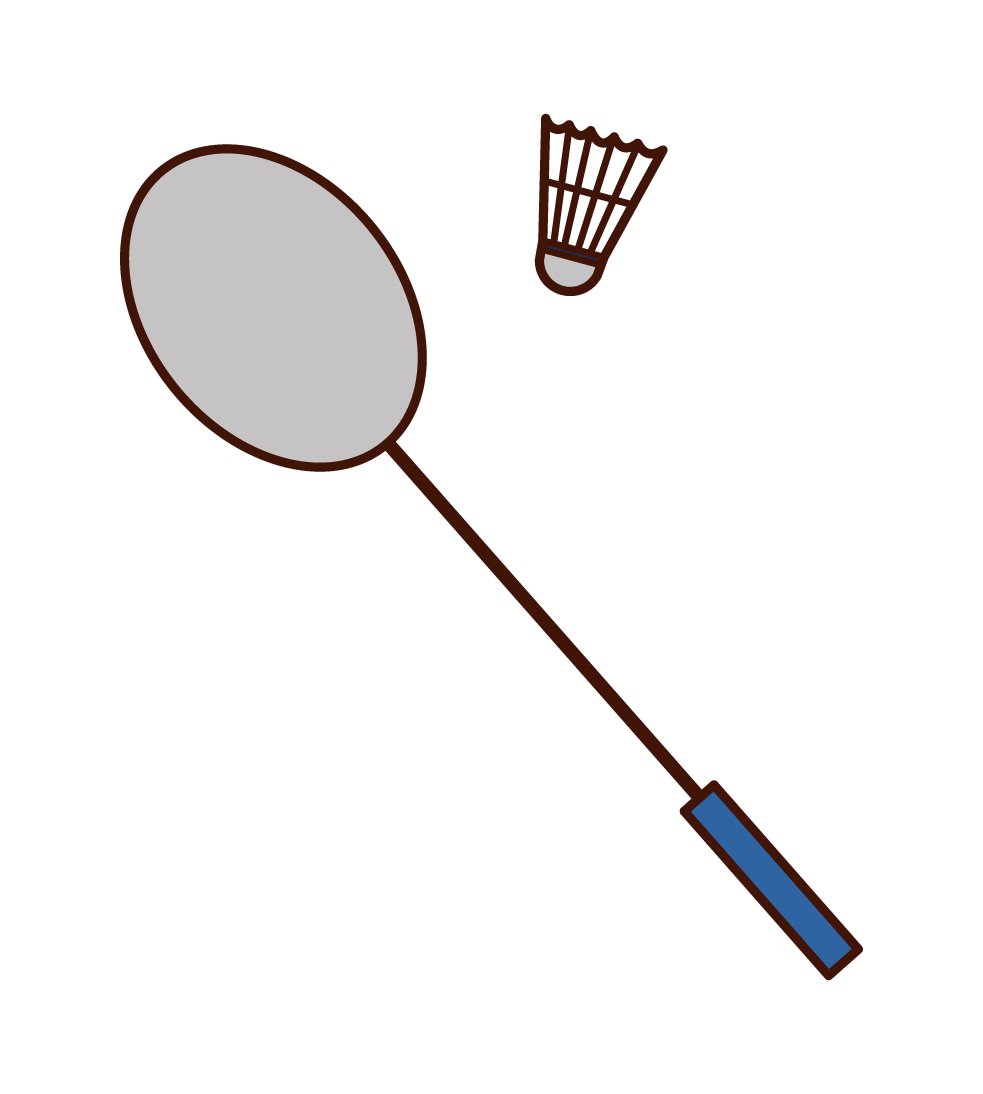 バドミントンのラケットとシャトルのイラスト