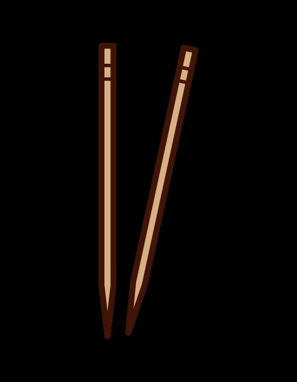 爪楊枝のイラスト