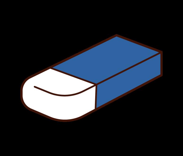 使いかけの消しゴムのイラスト