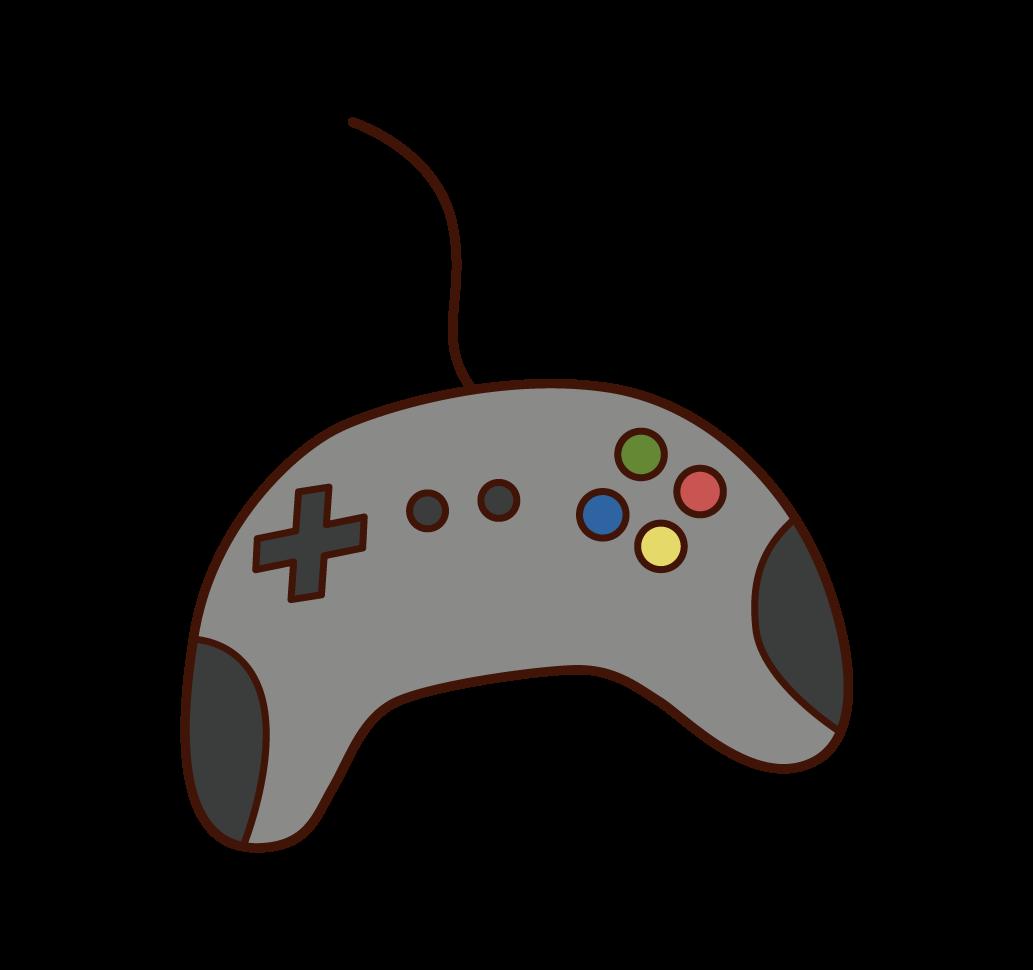 비디오 게임 컨트롤러의 일러스트레이션