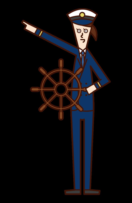 航海士(女性)のイラスト