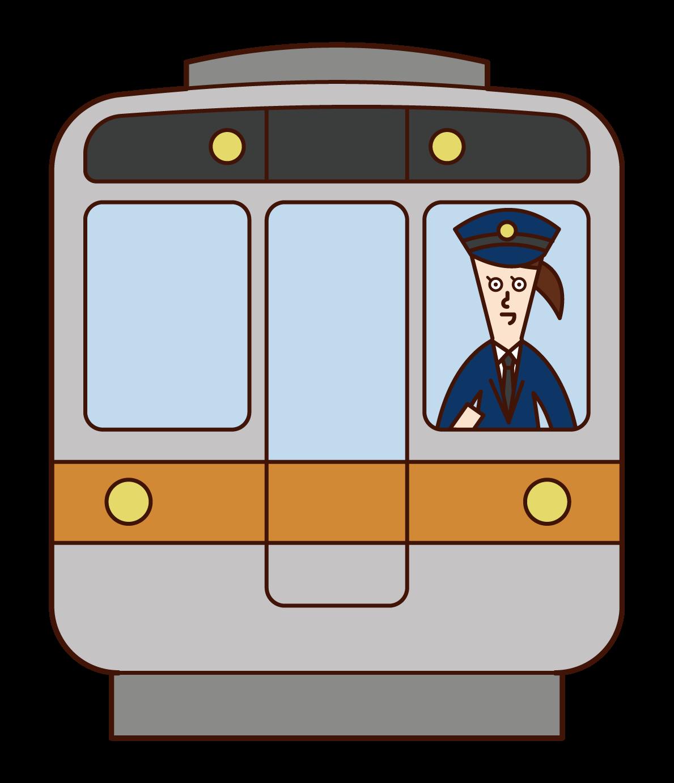 火車司機(女性)插圖