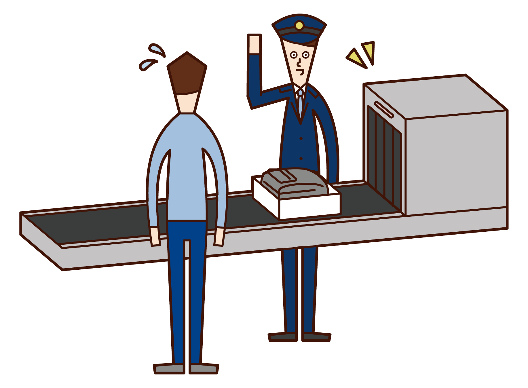 Illustration of a duty official (male) at the airport