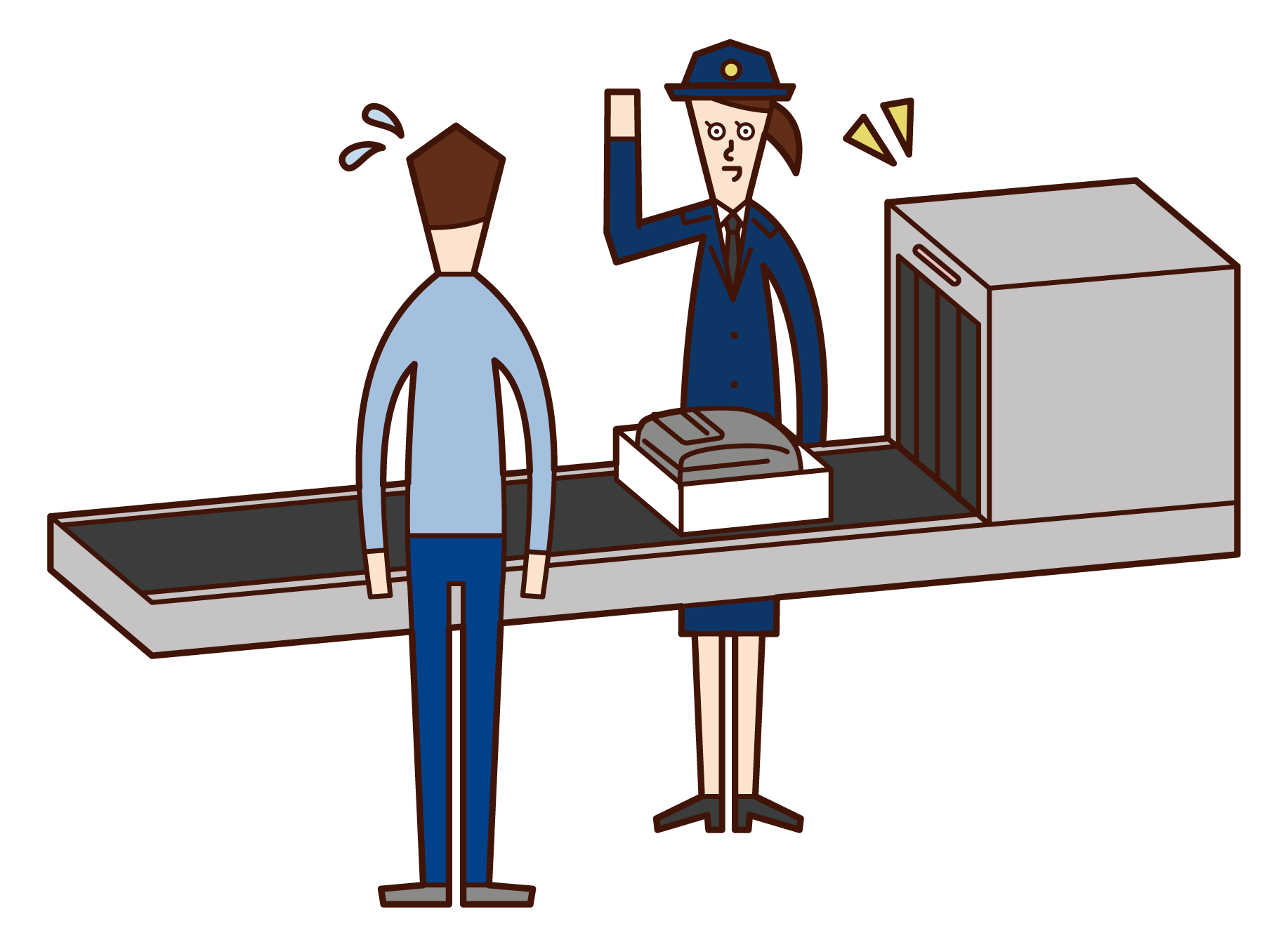 Illustration of a customs officer (female) at the airport