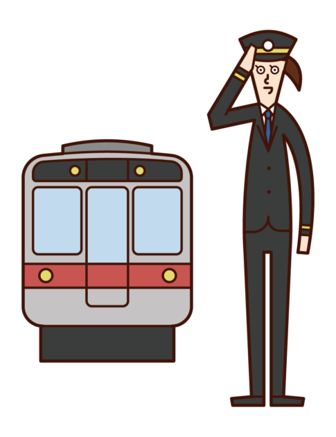 Illustration of conductors and railway company employees (women)