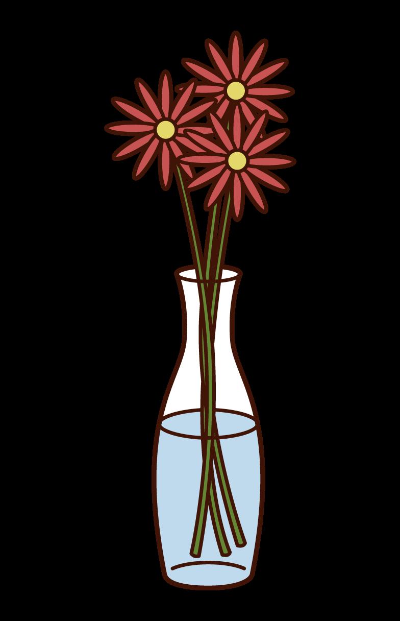 花瓶に生けられた花のイラスト