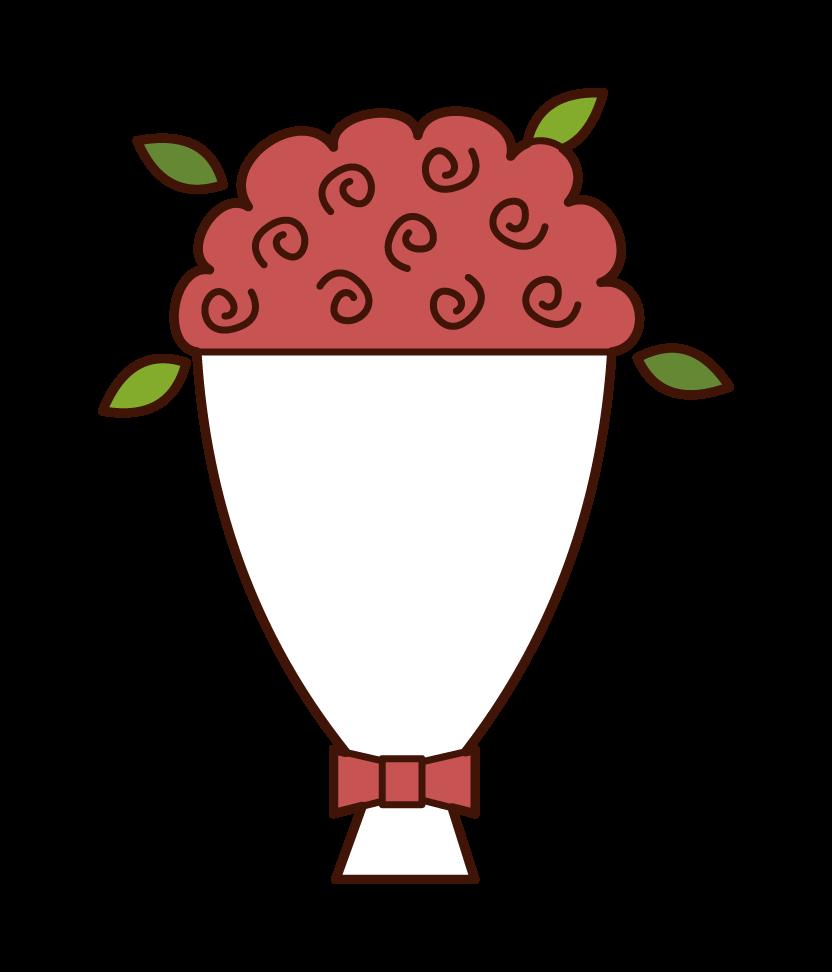 大きな花束のイラスト