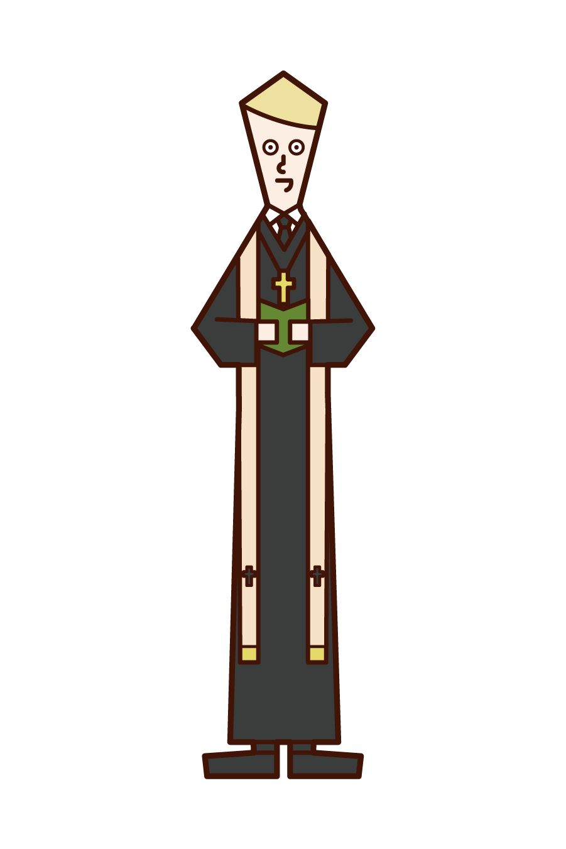 牧師(男性)のイラスト