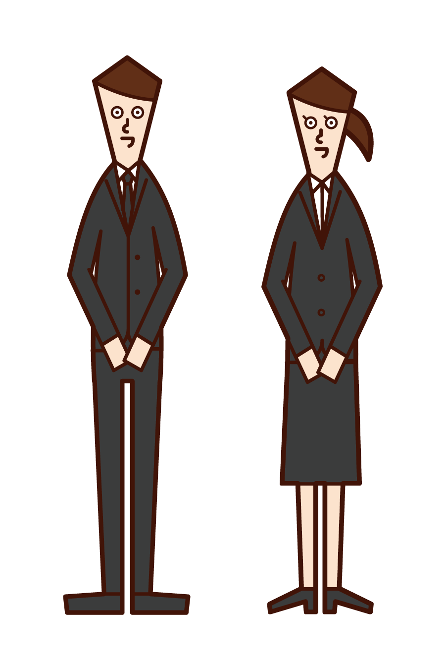 Illustration of a funeral home employee (man and woman)