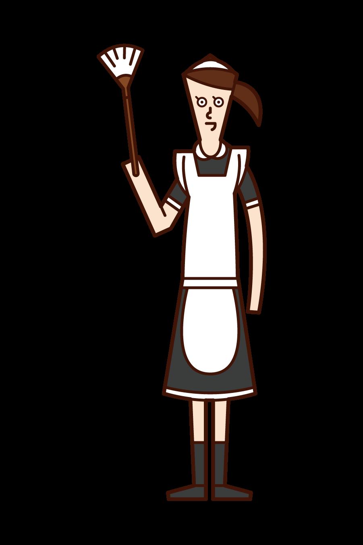 家政婦・メイド(女性)のイラスト