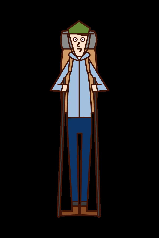登山家(男性)のイラスト