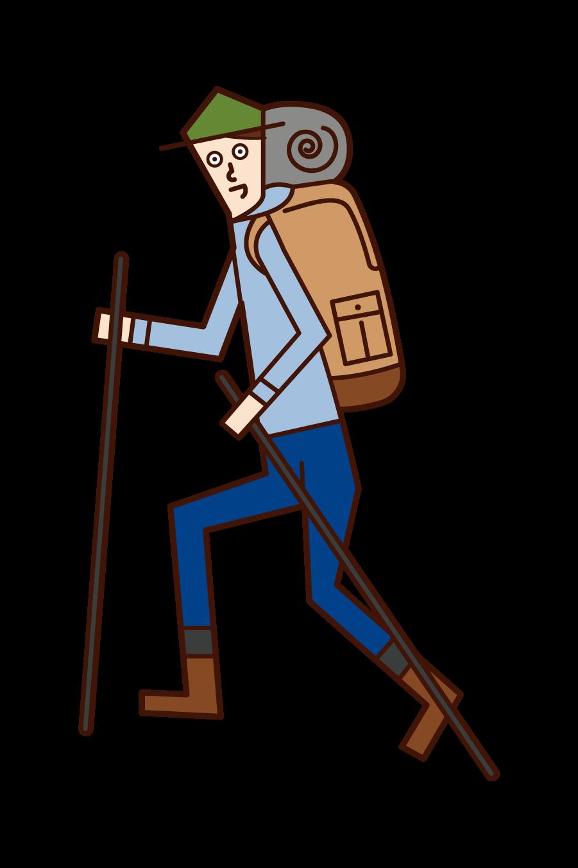 山に登る登山家(男性)のイラスト