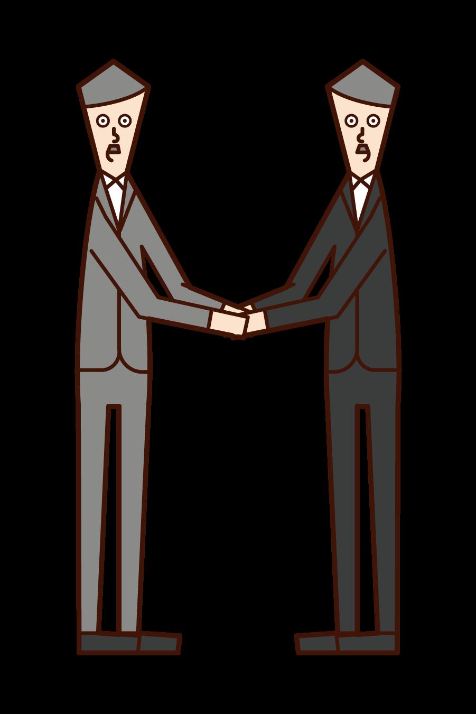 握手を交わす人(男性)のイラスト