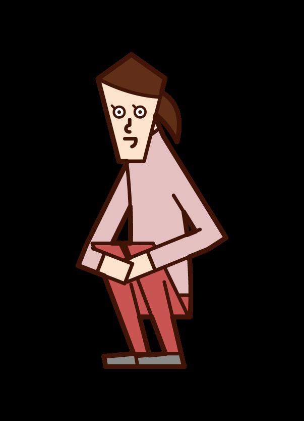 しゃがんでいる人(女性)のイラスト