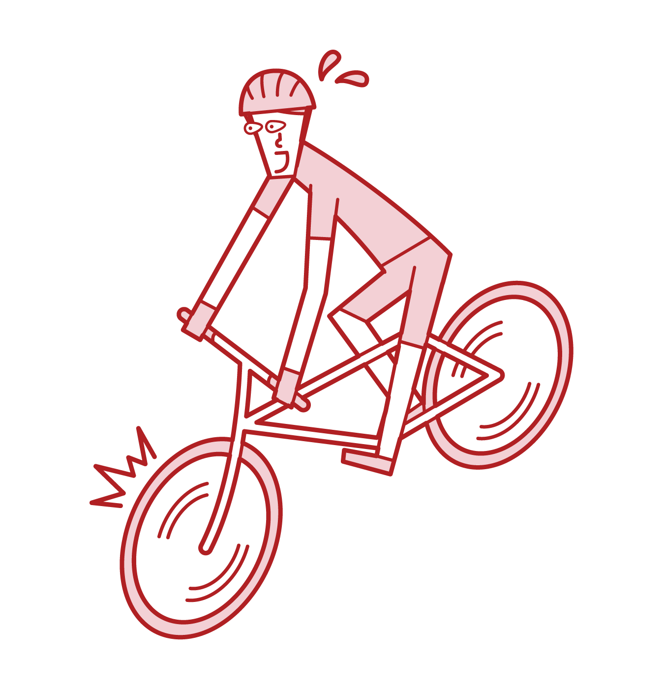 Illustration of a cyclist (man) who brakes suddenly