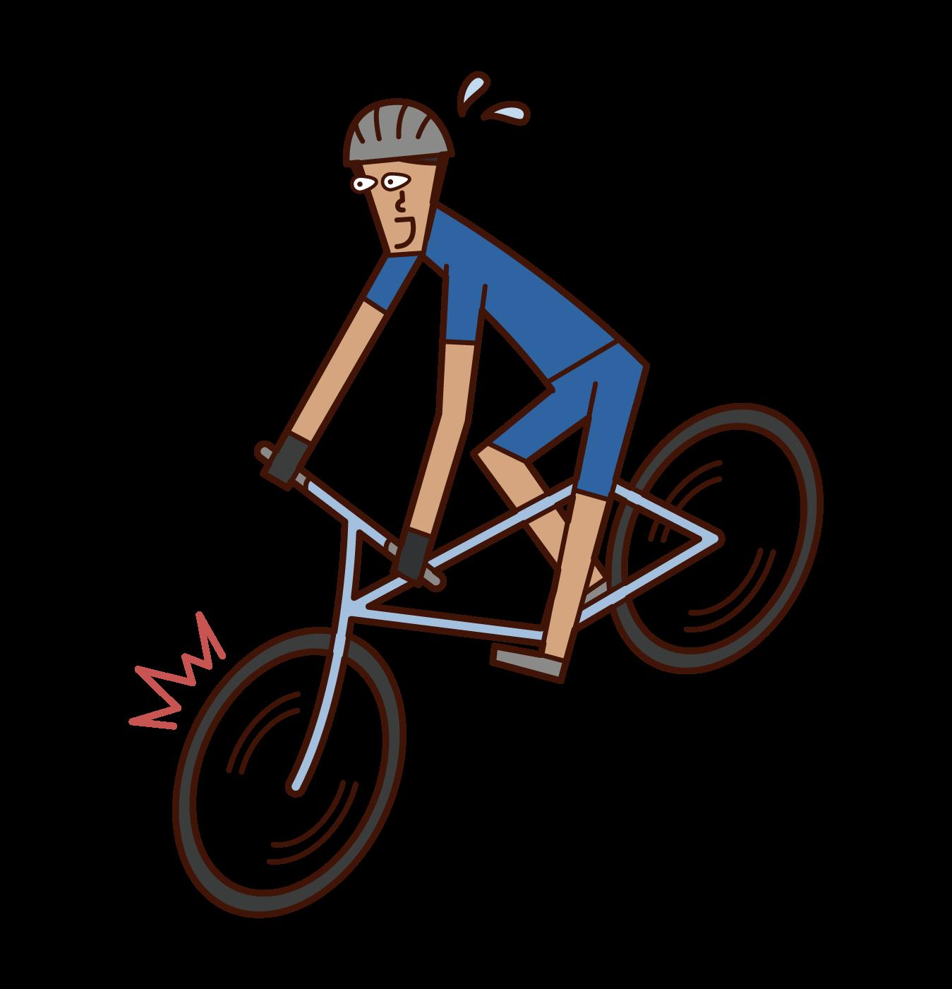 急ブレーキをかける自転車乗り(男性)のイラスト