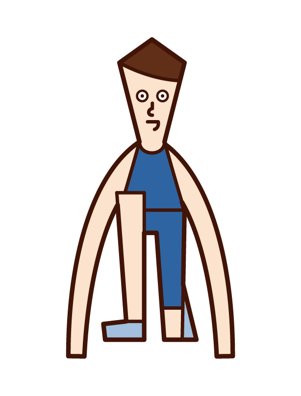 Illustration of a person (man) who rehydrates