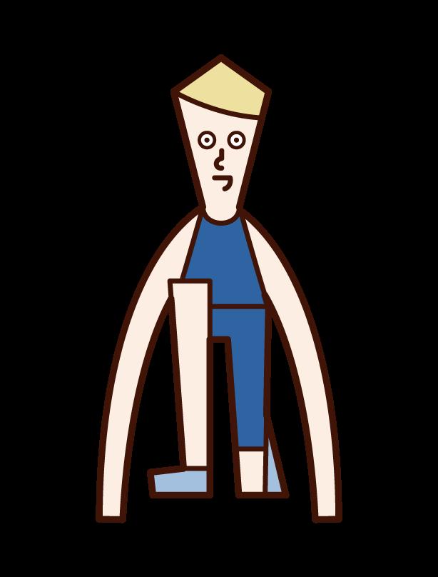 Illustration of a man who starts crouching