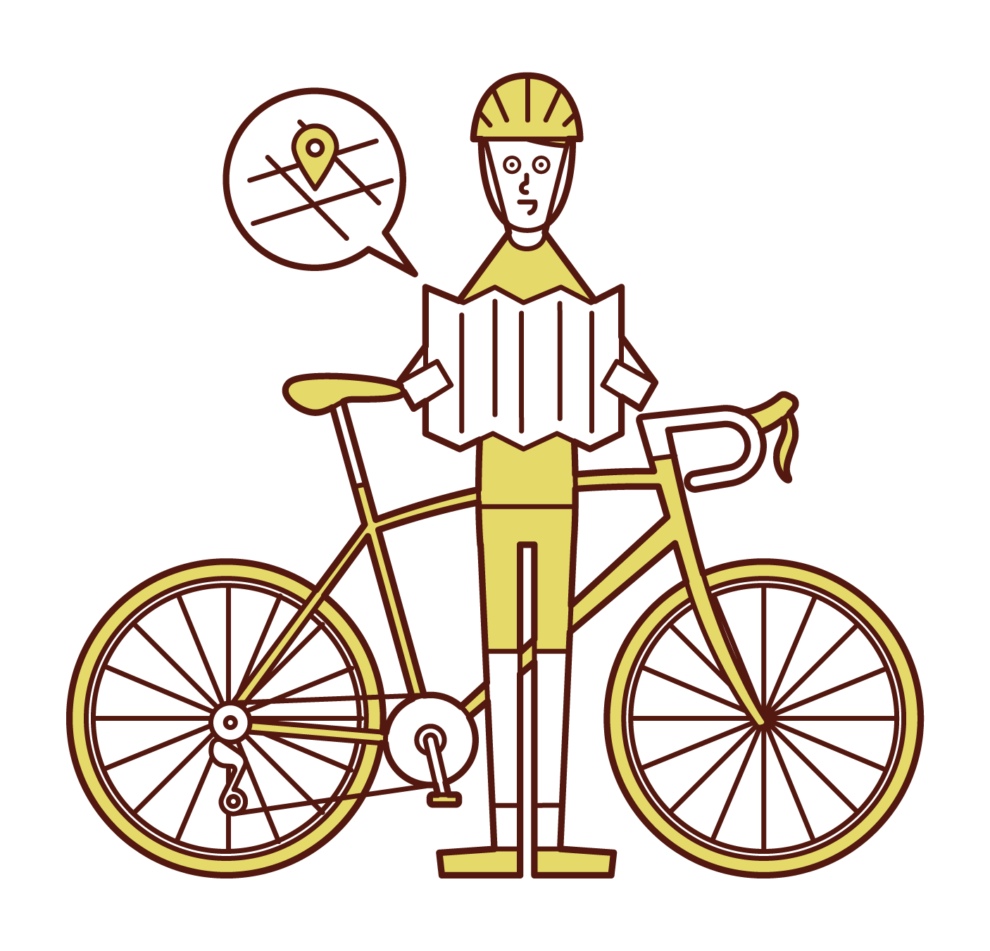Illustration of a cyclist (man) looking out at the map