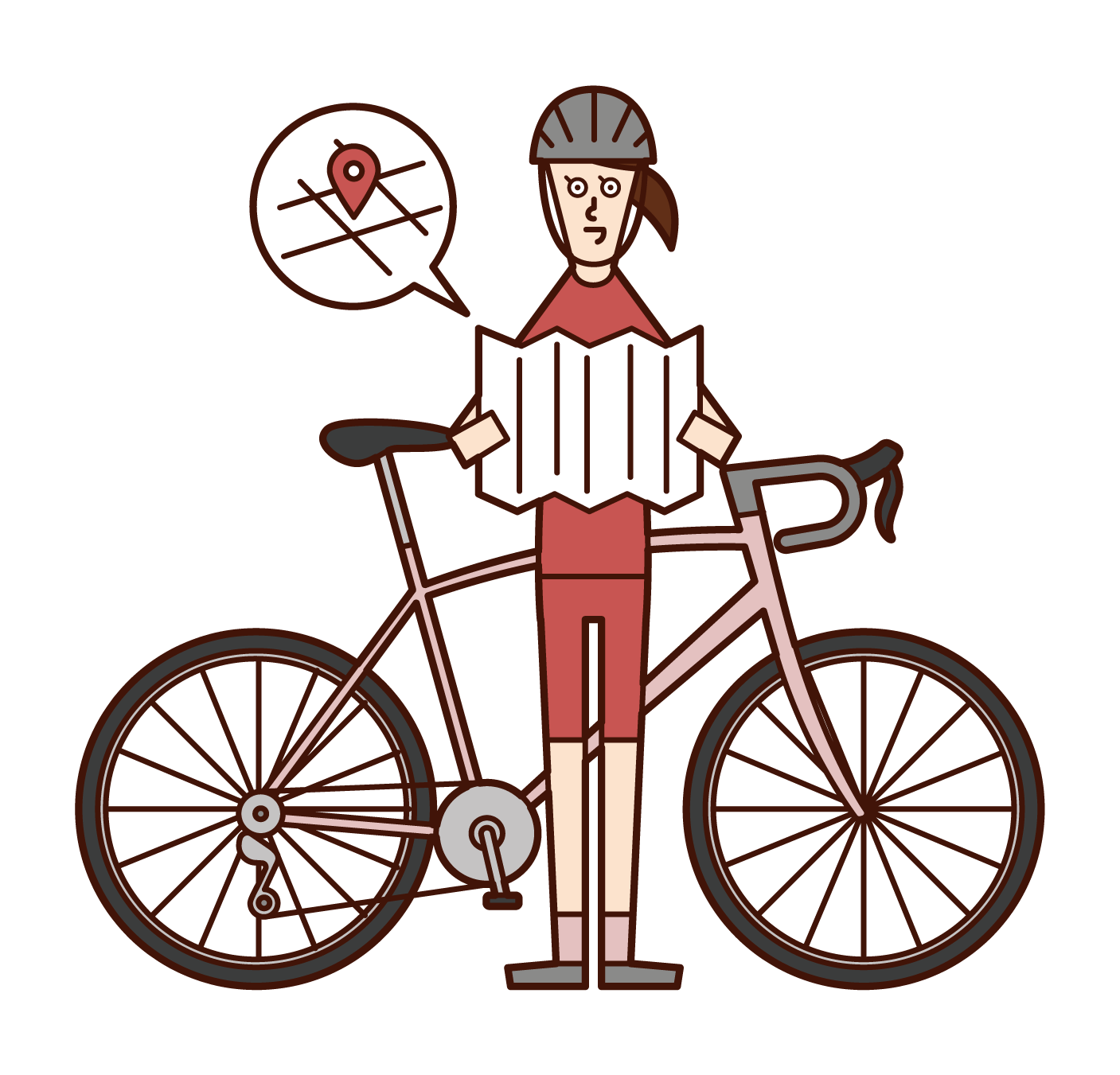 Illustration of a bicycle rider (woman) looking out at the map
