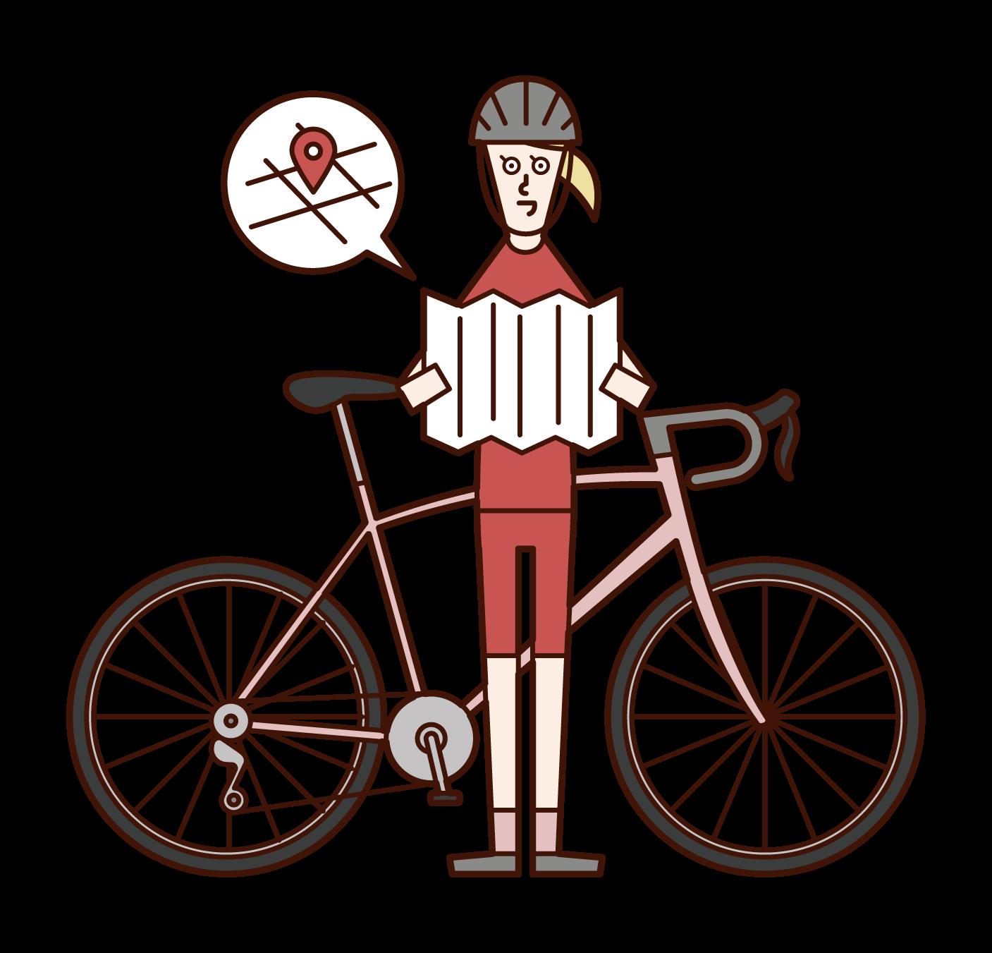 地図を広げて見る自転車乗り(女性)のイラスト