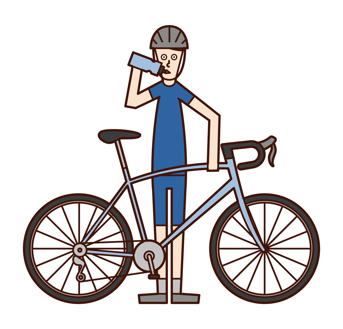 Illustration of a cyclist (man) rehydration