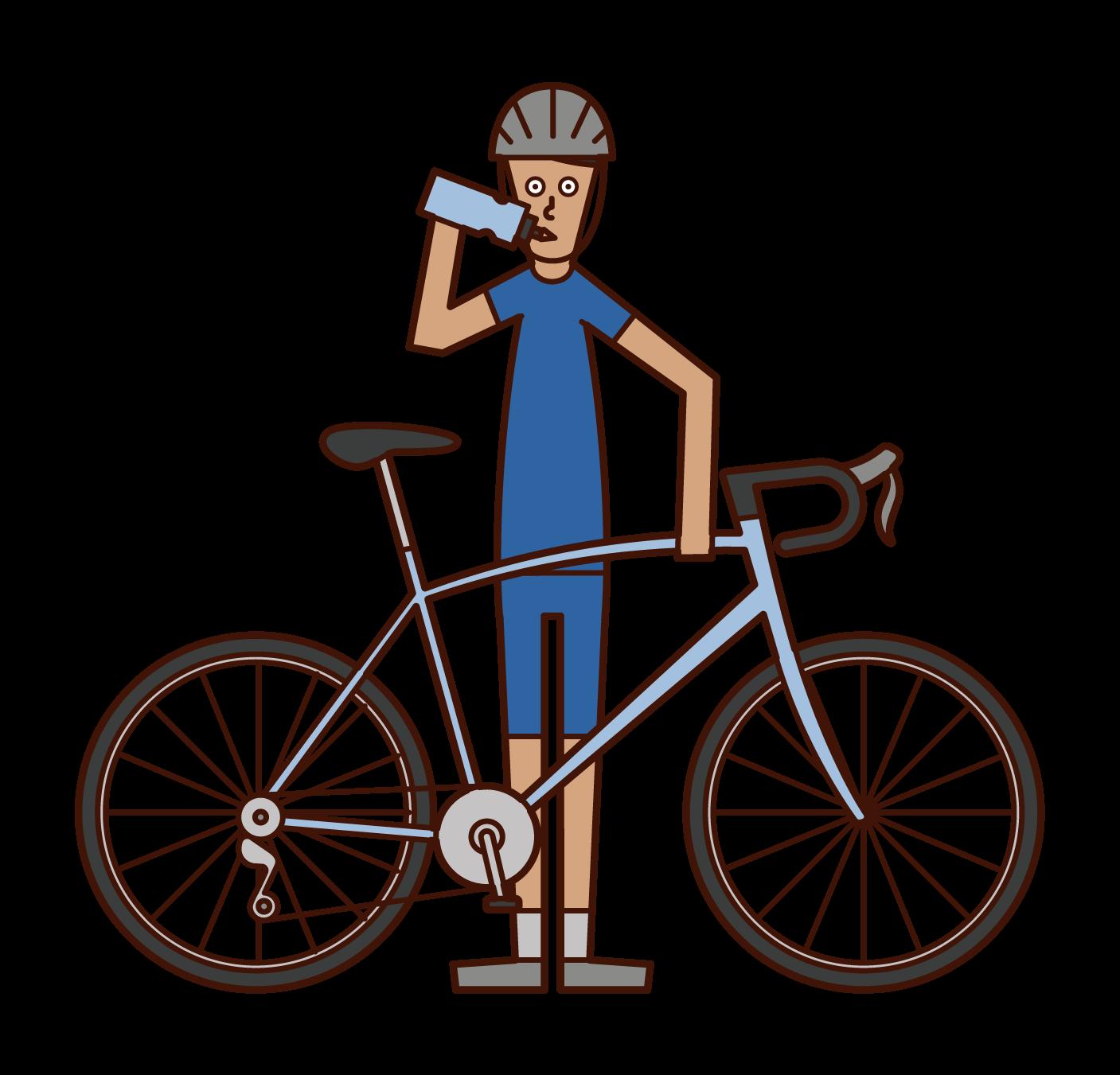 Illustration of a cyclist (man) rehydration