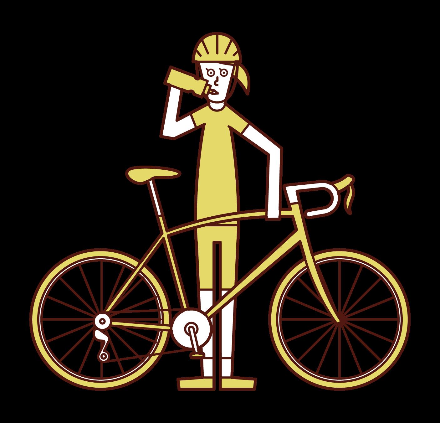 水分補給をする自転車乗り(女性)のイラスト